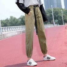 2019 New Harem Pants Autumn Winter Women Elastic Waist Sashes Casual Black Trousers