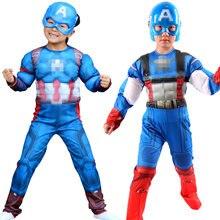 Halloween Super dzieci mięśnie z pokrowiec na buty lider drużyny bohaterowie amerykański kostium dziecko Cosplay urodziny dla chłopców dziewcząt