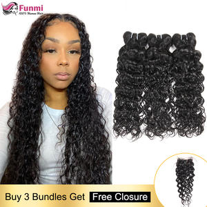 Hair-Weave Bundles Closure Peruvian with Non-Remy Water-Wave