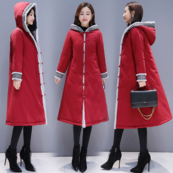 Fall and Winter 2019 Cotton and Hemp Womens Garment with Cotton and Thickening Ethnic Wind Disc Button Cap and Cotton Coat