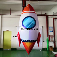 Inflate Red Rocket Model Toys Children Birthday Party Decoration Toys Astronaut Space Spaceship giant rocket Inflatable Missile
