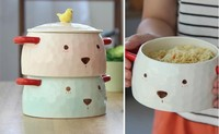 Cute bear ceramic bubble face instant noodles bowl cartoon character Japanese tableware a large salad soup bowl food container