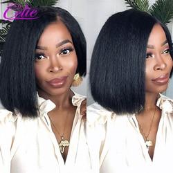 Crépus droit Bob perruque perruques de cheveux humains 150 densité 13x4 dentelle avant perruques de cheveux humains pour les femmes noires Celie Yaki Bob perruque avant de lacet