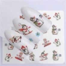 YZWLE 1 лист зима снежинка Полный Обертывания дизайн ногтей переводные наклейки воды рождественский стиль Маникюр Наклейка DIY