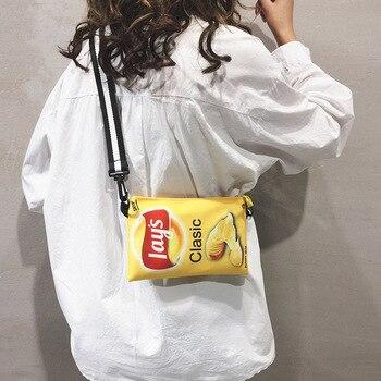 Funny Potato Chips Crossbody Handbag Women Canvas Shoulder Bag Mini Cartoon Printing Girl Envelope Bags Female Clutch Cute Purse mini fruit women bag cute stereo box makeup cartoon women fashion letter canvas shoulders bag ss0115