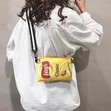 Funny Potato Chips Crossbody Handbag Women Canvas Shoulder Bag