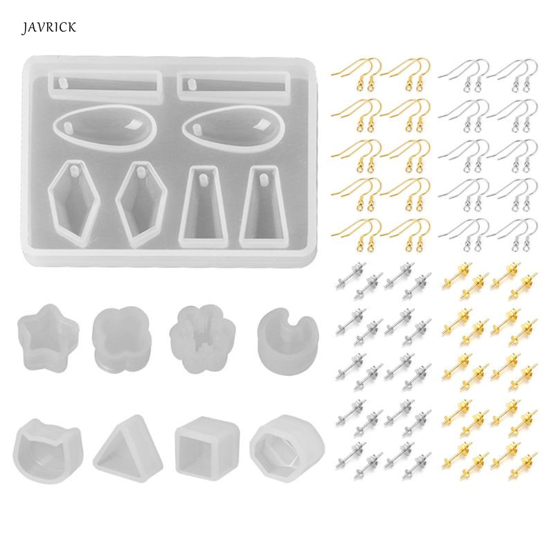 Jewelry Resin Mold Earrings Epoxy Mold Set DIY Stud Earring Jewelry Making Material Ear Hook Needles