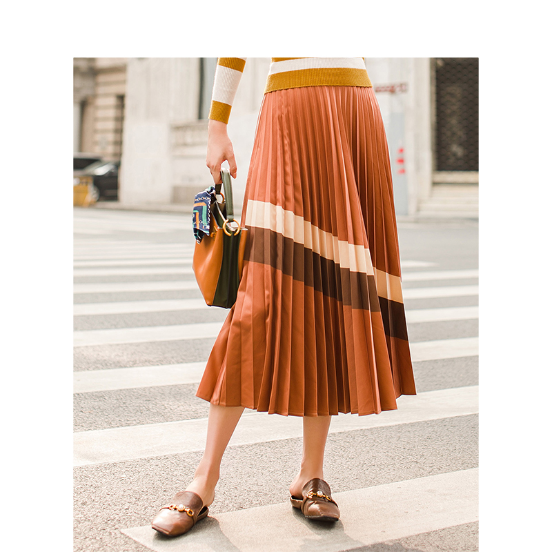 INMAN Spring Spring Autumn Empire Waist A Line Bottom Pleated Stripped Causal Women Skirt