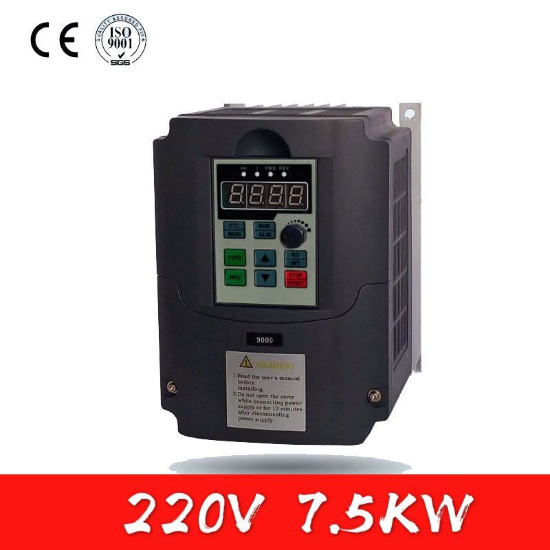 7.5kw Inverter 220V Single Phase Input and 3 Phase Output Frequency Converter Adjustable Speed VFD ,For Spindle Motor