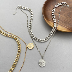 WENN MICH Chunky Kette Choker Halskette Frauen Layered Dicken Link Kette Halsketten Gold Porträt Münze Anhänger Mode Schmuck 2021 Neue