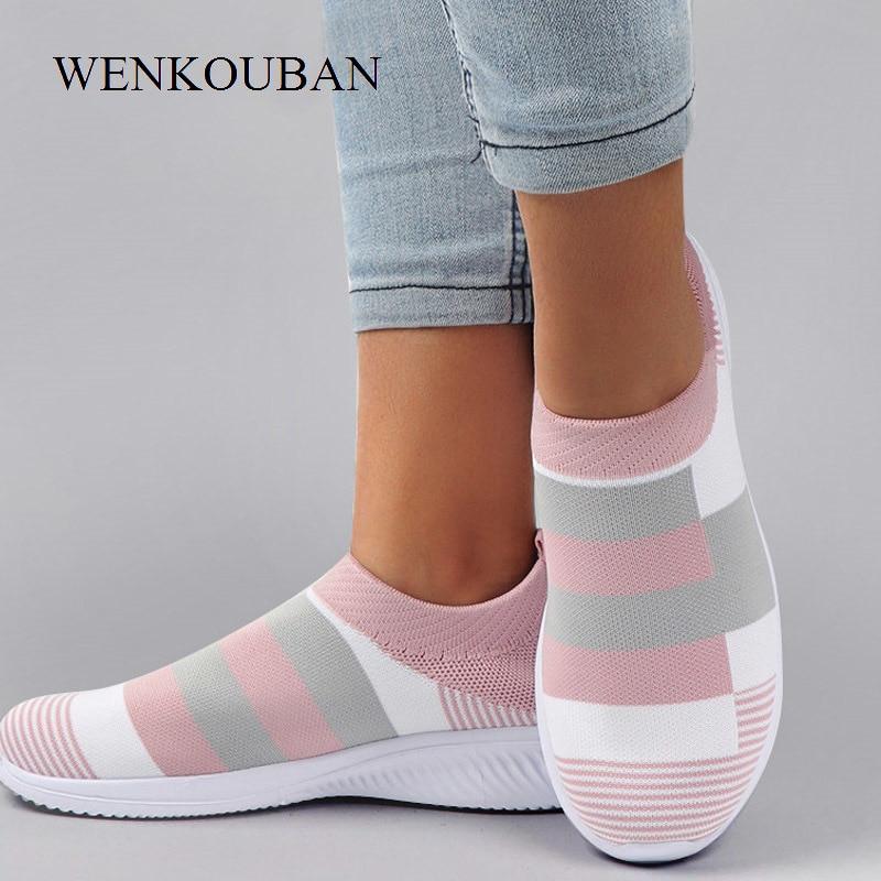 Summer Vulcanized Shoes Women Sneakers Casual Tenis Feminino Slip-On Sneakers Ladies Air Mesh Socks Shoes Zapatos De Mujer 2020