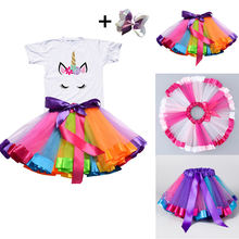 2019 Girl Unicorn Tutu Dress Rainbow Princess Girls Birthday Dress Toddler Baby Unicorn Party Outfits Children Kids Clothes(China)