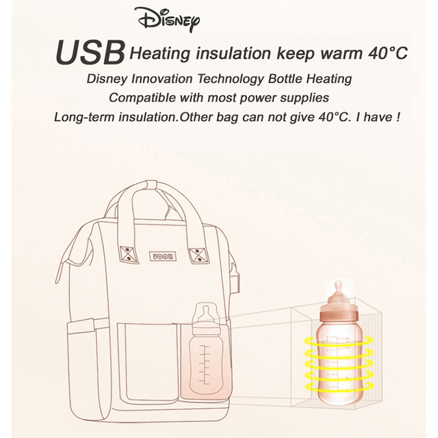 Disney Minnie Pink Series Maternity Diaper Bag USB Heating Baby Care Bag Mummy Large Capacity Nappy Backpack For Moms Waterproof   Happy Baby Mama