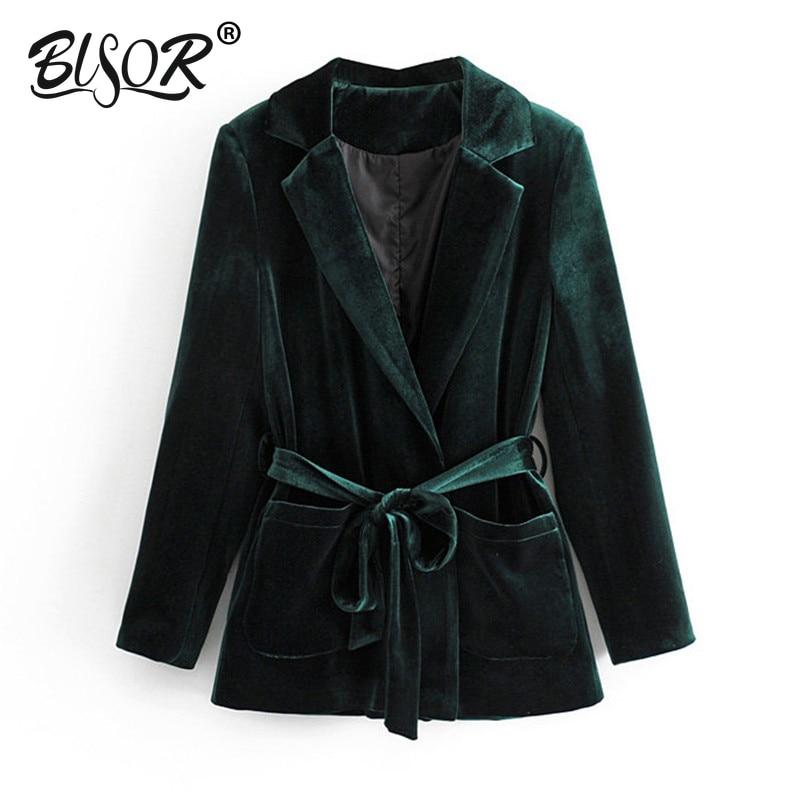 Belt Waist Blazers Women Fashion Black Velvet Jackets Women Elegant Pockets Design Solid Suits Female Ladies