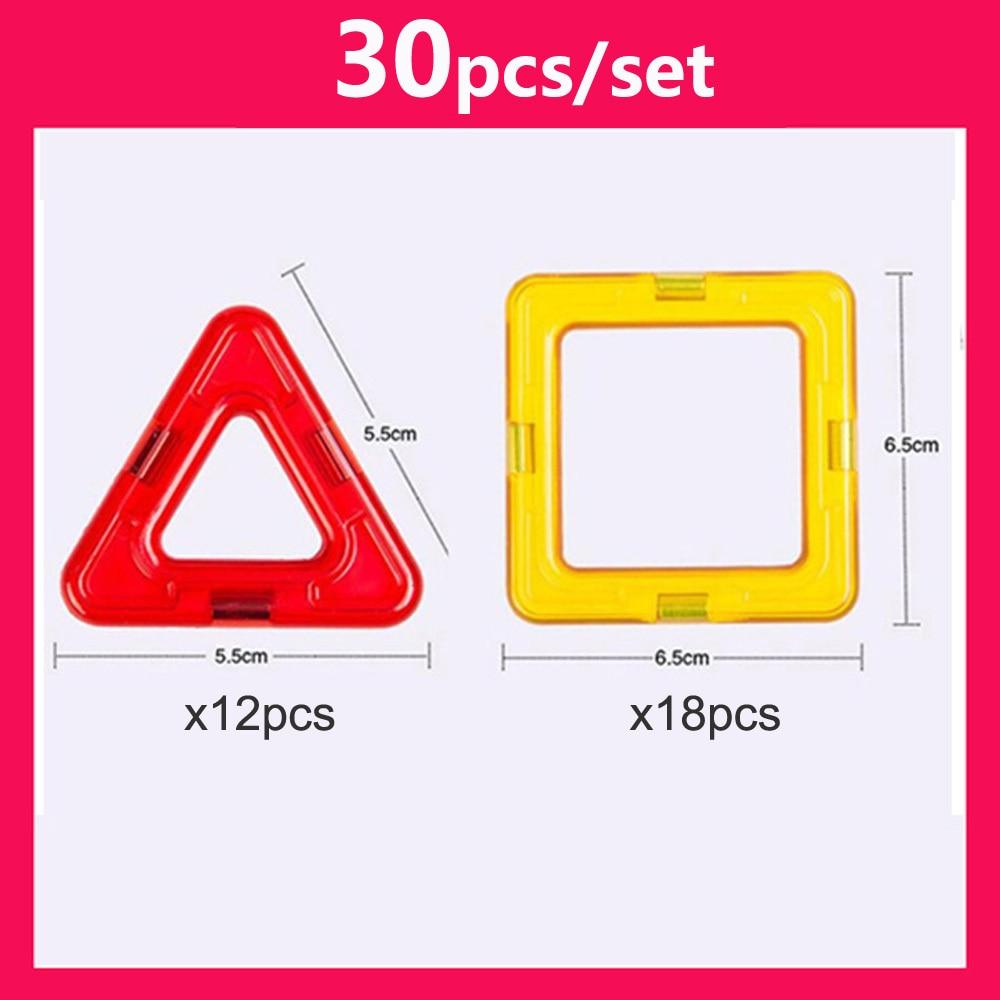 30pcs DIY Magnetic Constructor Triangle Square Big Bricks Magnetic Building Blocks Designer Set Magnet Toys For Children 2
