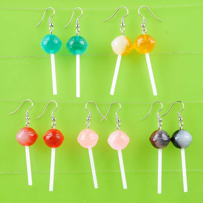 DIY Fashion Gadis Resin Kawaii Makanan Permen Lollipop Anting-Anting Drop Anting-Anting Menjuntai Anting Perhiasan Wanita Boutique Bijoux Ornamen