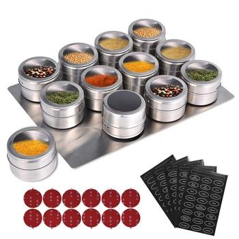 Pots à épices magnétiques avec support mural 1