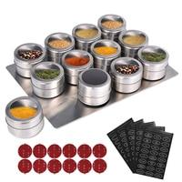 LMETJMA manyetik baharat kavanoz ile duvara monte raf paslanmaz çelik baharat teneke baharat baharat kapları baharat etiketi KC0305 Baharatlık ve Biberlikler    -