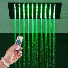 цены Rainfall Shower Head 304 SUS Remote Control Light Shower Bathroom Ceiling LED Showerheads 12 Inch 304 SUS Showers