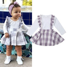 Autumn New Baby Girl Sets Clothes Outfit Solid Long Sleeve Romper Bodysuit Plaid Skirts Newborn roupa infantil Baby Clothes Girl(China)
