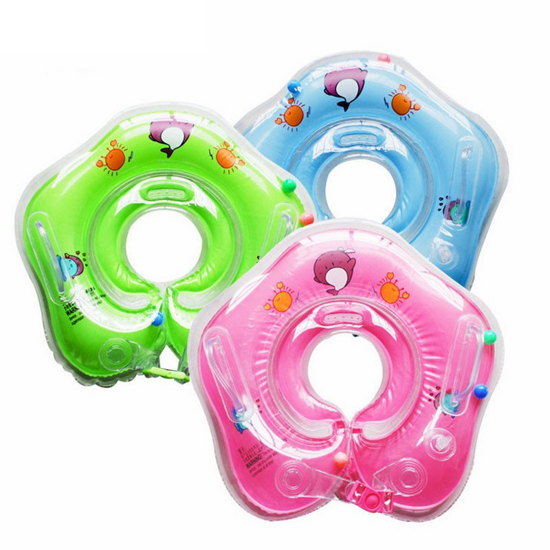 Pink Baby Air Safety Swimming Ring Free Inflatable Collar Baby Neck Swimming Ring Neck Float Play Water Accessories