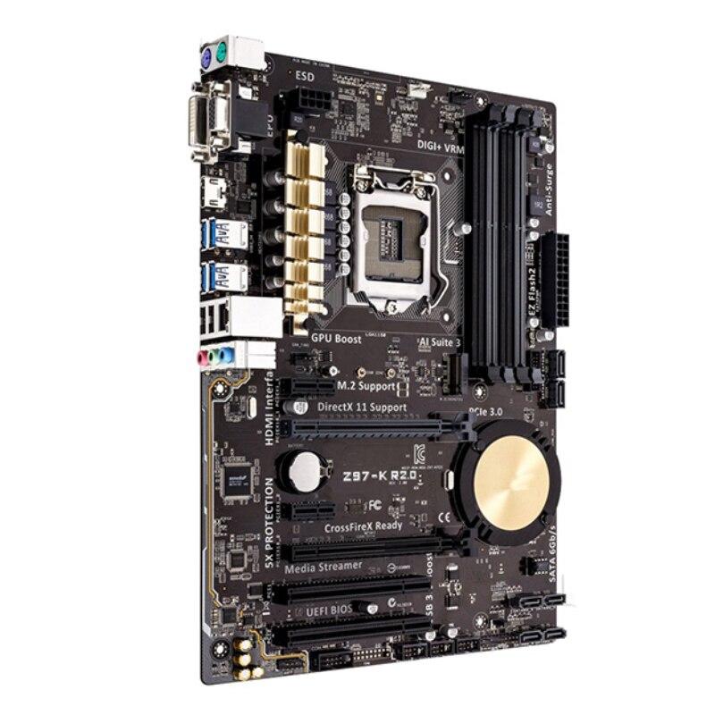 Original For ASUS Z97-K R2.0 Desktop motherboard MB Z97 LGA 1150 ATX DDR3 32GB PCI-E 3.0 USB3.0 SATA3.0 100% fully Tested 2