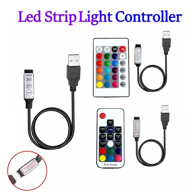 USB LED RGB Controller 12v 5v 24v IR RF Led Remote Controller 5V 12V 24V Usb Rgb Led Controller 3 17 24 Key For Led Strip Lights