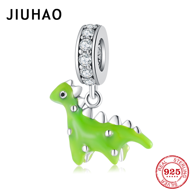 Hot 925 Sterling Silver Cute dinosaur Green enamel Charms For jewelry making Pendants Fit Original Charm Pandora Bracelets(China)