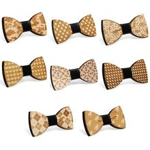 Magic Stage Performance Wooden Bow Tie Men Boy Polka Dot Water Drop Plaid Paisley Floral Pattern Adjustable Bowknot Wedding Gift stylish white polka dot pattern 6cm width men s black tie