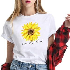 Sun Flower Letter Print T-shirt Women Short Sleeve Round Neck Slim Fit Cute Girl's Tshirts Tees & Tops Summer 2020 Tshirts