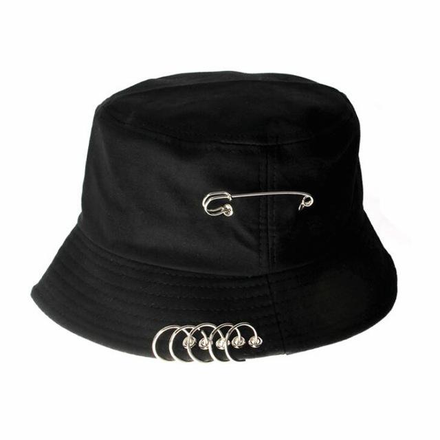 Broche anillo Harajuku cubo sombrero hombres mujeres Unisex K Pop Bob al aire libre playa sombrero moda panamá elegante pesca pescador tapa