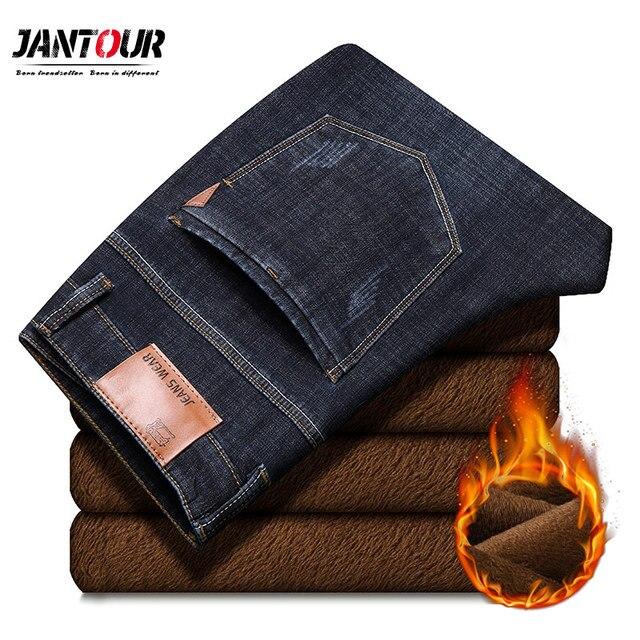 Jantour 2019 novos homens calças de brim quentes de alta qualidade famosa marca inverno quente reunindo velo macio masculino 35 40 tamanho