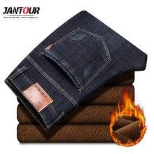 Jantour 2019 새로운 남성 따뜻한 청바지 고품질의 유명 브랜드 겨울 청바지 따뜻한 몰려 들고 따뜻한 양털 소프트 남성 청바지 남성 35 40 크기