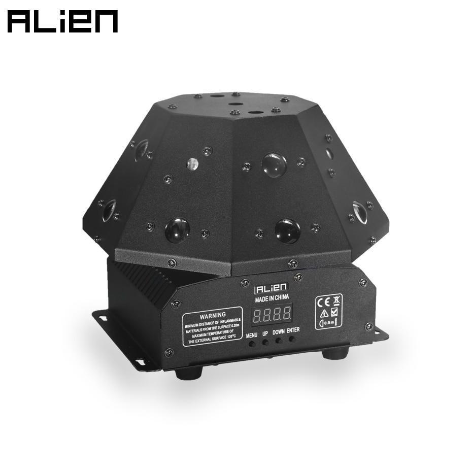 Сценический лазерный проектор ALIEN 3 в 1 с эффектом RGB + светодиодный RGB-луч + белый стробоскоп для диджея, дискотеки, вечеринки, танцев, DMX вращаю...