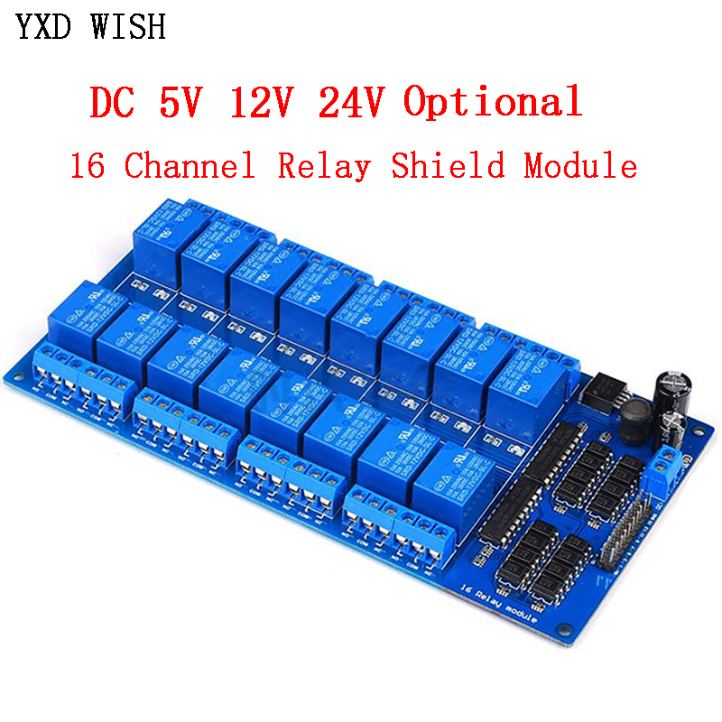 16-канальный релейный Щит Модуль постоянного тока 5 в 12 В 24 В с оптроном LM2576 микроконтроллеры интерфейс реле питания для Arduino DIY Kit