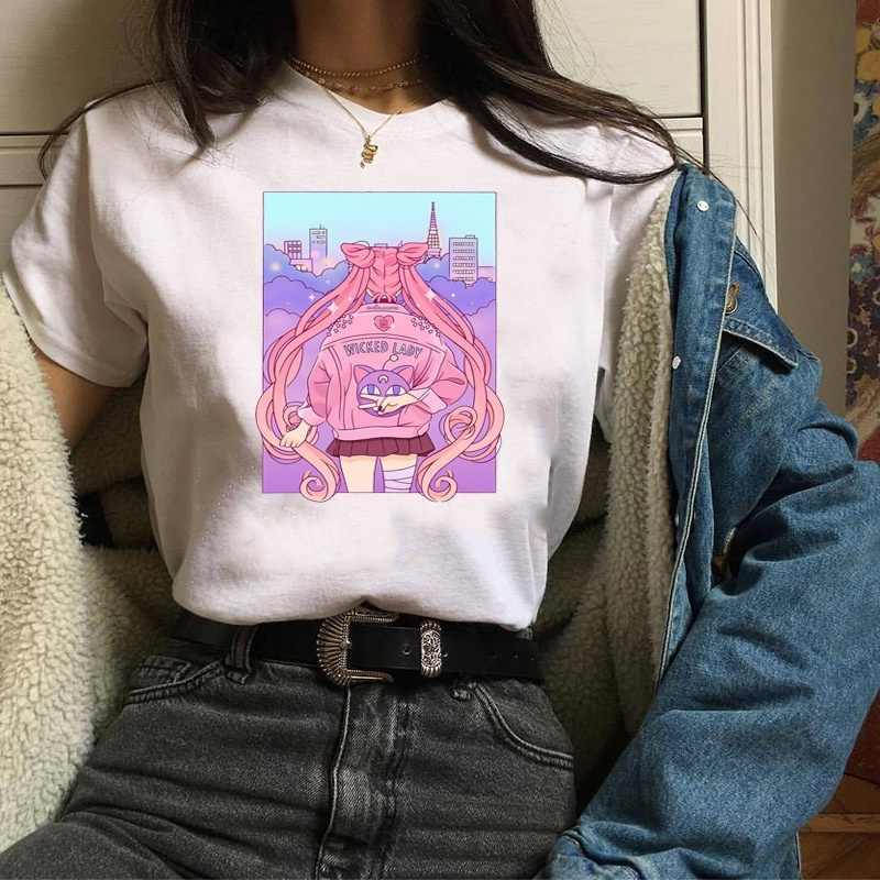Japanese Sailor Moon T-Shirts Cotton Basic Tee Short Sleeve Anime Casual Shirts