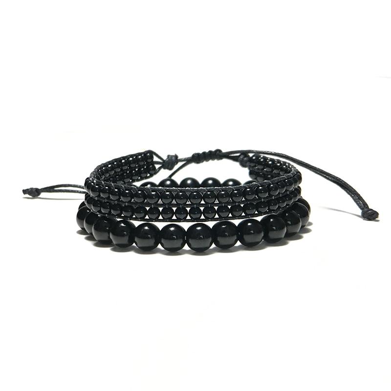 Fashion Black Obsidian Bracelet Adjustable Braided String Braclet Men WOmen Paired Braslet Erkek Bileklik Homme Accessories