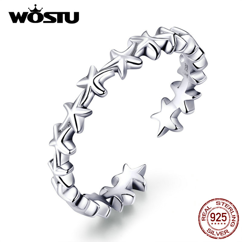 WOSTU Real 925 Sterling Silver Cheerful Starfish Ring For Women Wedding Engagement Adjustable Opening Rings Party Jewelry CQR607