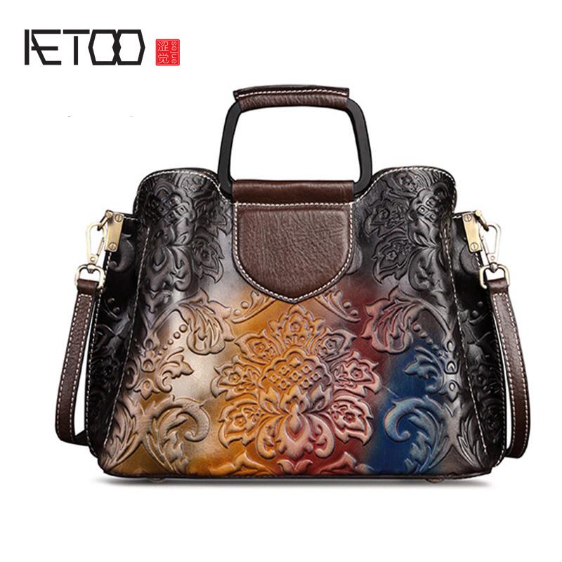 AETOO Leather women\'s bag, retro lady handbag, fashion crossbody bag, cowhide shoulder casual wipe color leather bag
