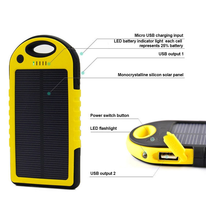 Hot Solar Waterproof Mobile Power Box Solar Universal Charger 2 USB Universal Ports External Charger Powerbank For Smart Box