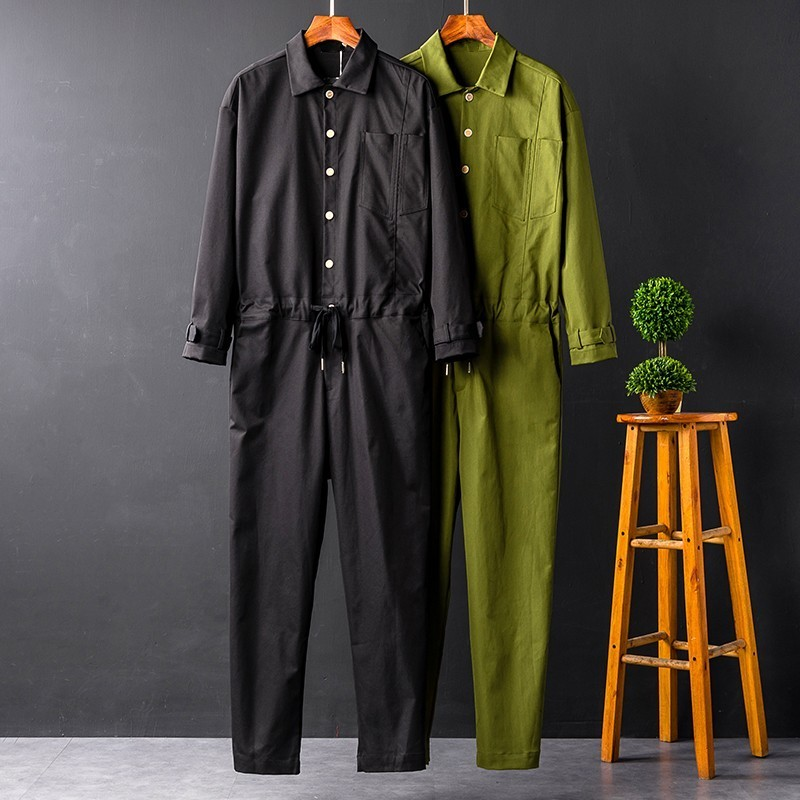 Harajuku Mens Casual Loose Fit Jumpsuits Long Sleeve Single Breasted Top Drawstring Waist Full Length Pants Male Cargo Overalls