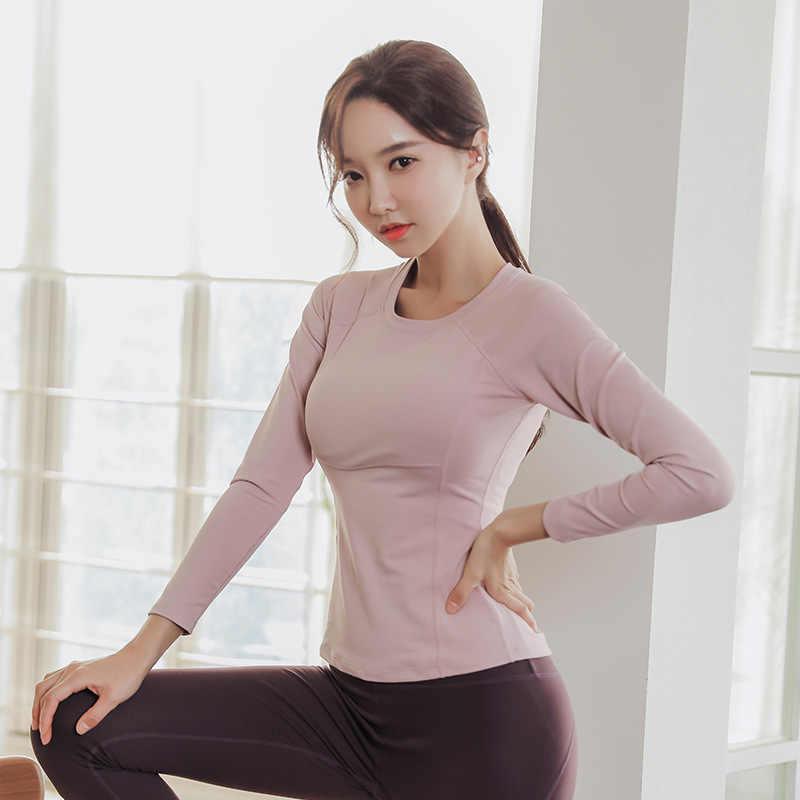 DOUBL เพาะกายเสื้อยืดวิ่งเกาหลีสไตล์เสื้อผ้าแห้งเร็ว Breathable ตาข่าย YOGA ชุดเบาะหน้าอกและแขนยาว