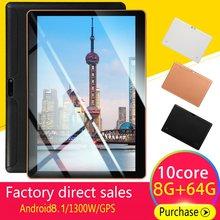 KT107 пластиковый планшет 10,1 дюймов HD большой экран Android 8,10 версия модный портативный планшет 8G+ 64G черный планшет с американской вилкой