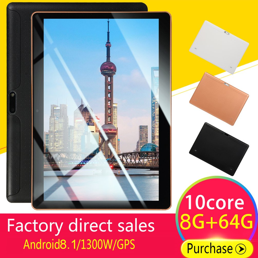 KT107 пластиковый планшет 10,1 дюймов HD большой экран Android 8,10 версия модный портативный планшет 8G + 64G черный планшет с американской вилкой