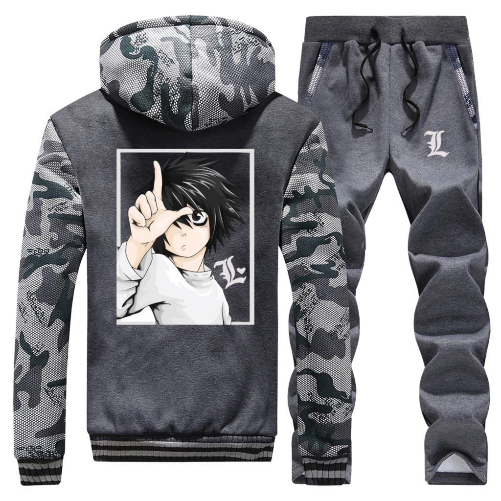 Death Note Anime Zip Hoodie+Sport Trousers Men Winter Camouflage Jacket Warm Sweatpants Mens New Arrival Brand 2 Piece Suit 5XL