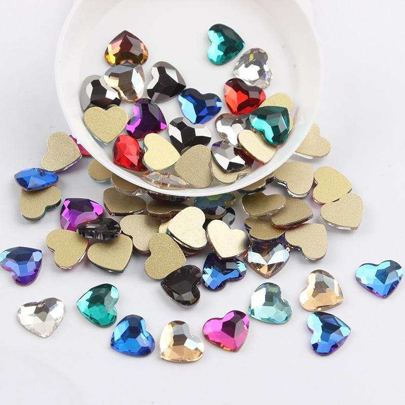 Все смешанные цвета, 30 шт, стразы для дизайна ногтей, сделай сам, без горячей фиксации, стеклянные камни для ногтей, драгоценные камни для 3D украшения для ногтей - Цвет: 8.5x10mm Heart