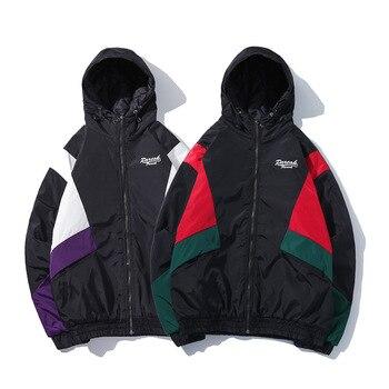 Winter Original Popular Brand Mens Panel Contrasting Color Padded Raincoat Jacket Korean-style Students Stylish Cotton