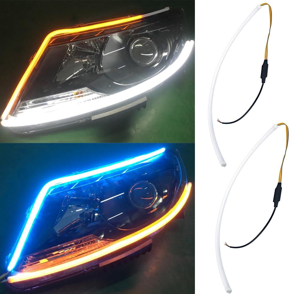 2PCS White Soft Eagle Eye 6 LED Flexible Auto Car DRL Daytime Running Light