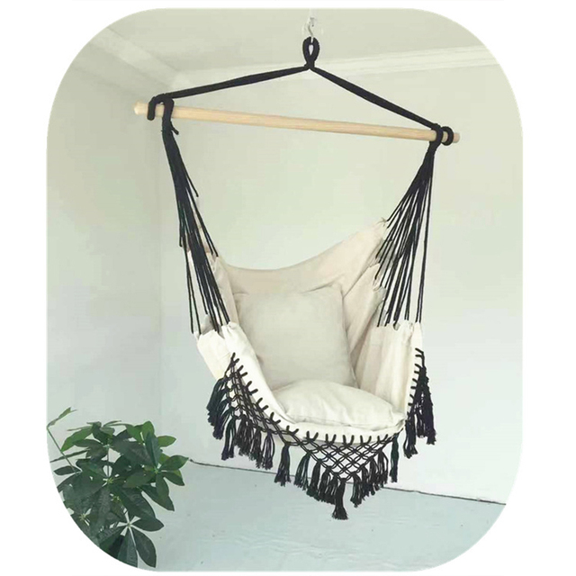 130 x100 x100cm Nordic style Home Garden Hanging Hammock Chair Outdoor Indoor Dormitory Swing Hanging Chair with Wooden Rod 2
