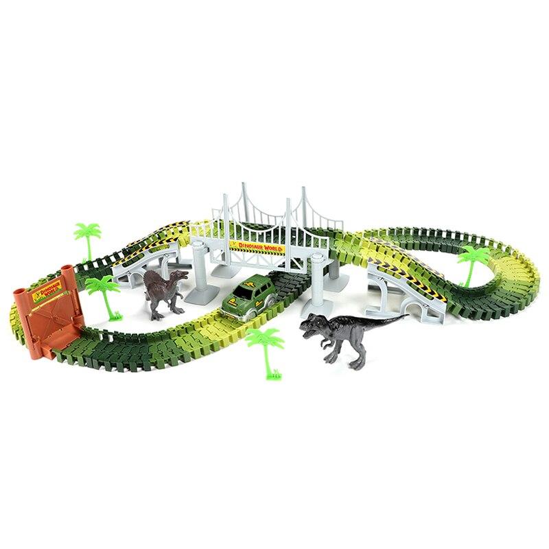 153Pcs Kids Diy Assemble Jurassic Dinosaur Rail Race Track Car Toy Rail Blocks Railway Roller Coaster Racing Tracks Vehicle Toy